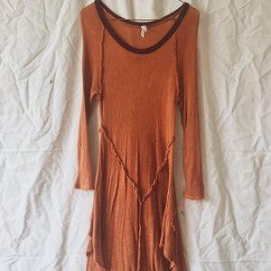 Burnt orange knit slip tunic Free People